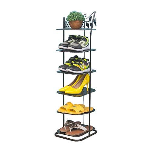 XXCHUIJU Zapatero Zapatero de almacenamiento, unidad de almacenamiento de metal de 6 niveles, color negro, apilable, estantes para pasillo y baño, organizador de zapatos