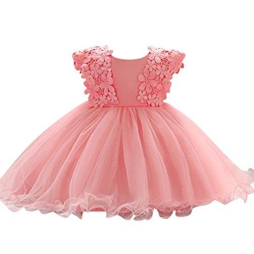 Baby Mädchen Prinzessin Kleid Blumenmädchenkleid Taufkleid Festlich Kleid Hochzeit Partykleid Festzug Babybekleidung Xinantime (0-6Monat, Pink)