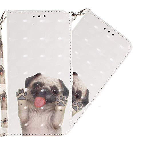 HMTECH iPhone 8 / iPhone 7 Custodia 3D carlino PU portafoglio in pelle Flip Stand titolare della carta Bookstyle Cover per iPhone 7,Pug