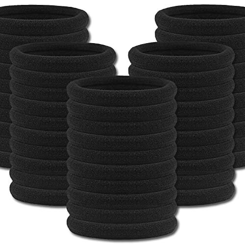 IVARYSS 50 Pcs Hair Ties for Women, Black Large Thick no Pull Ponytail Holder, Cotton Seamless no Crease Elastic Fabric Hair Bands