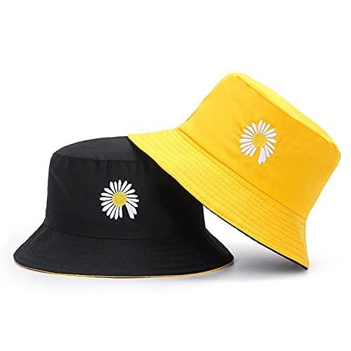 Patrón De Bordado De Doble Cara Pequeño Crisantemo Sombrero para El Sol Verano Aleros Grandes Sombrero para El Sol Lindo Pequeño Sombrero Fresco De Doble Cara Amarillo Y Negro
