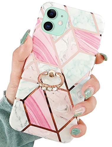 Jwest iPhone 11 Case, Rose Gold Shiny Marble Pattern Soft Silicone Cover with 360° Rotatable Ring Holder Kickstand for Girls Women Slim TPU Sturdy Protective Phone Case for iPhone 11 6.1 Geo