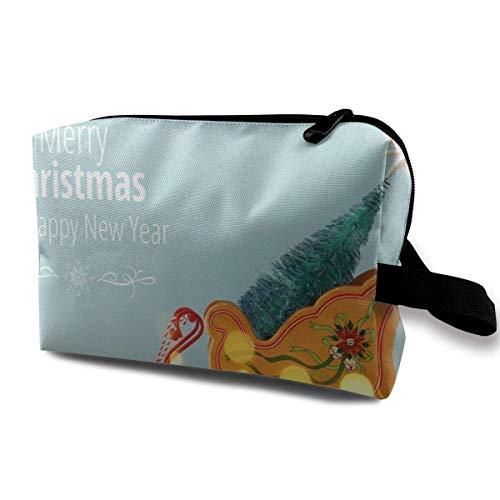 Hdadwy Weihnachtsbaum auf dem Alten hölzernen Schlitten über verschneitem Holztisch Personalisiert Geeignet für Familien, Reise 4,9 'x 6,3' x 10,0 'Tragbare Reisetasche