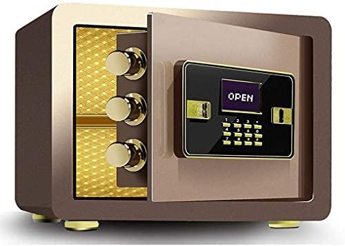 TOPNIU Caja fuerte electrónica pequeña para el hogar con bloqueo de contraseña, segura y antirrobo, alta capacidad de 25 cm/30 cm, fácil de usar (color: marrón, tamaño: 25 x 35 x 25 cm)