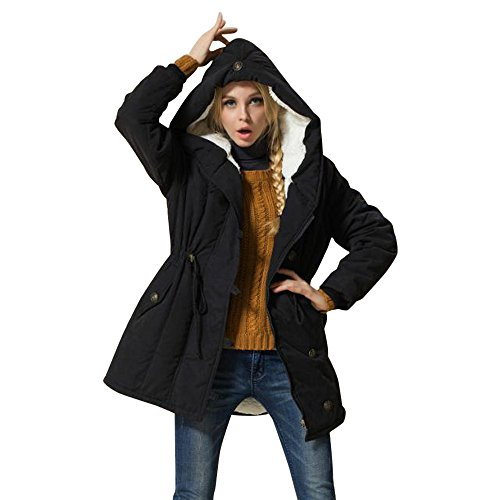 Pumsun Fashion Winter Warm Womens Jacket Lambswool Cotton Coat Parka Thicker Outwear (2XL, Black)