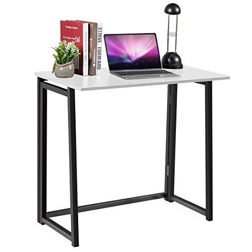 COSTWAY Mesa de Ordenador Plegable Escritorio de Trabajo 80x45,5x73,5 centímetros Mesa para Oficina Hogar (Blanco)