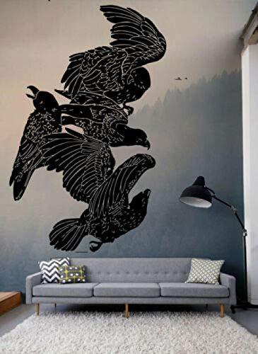 Nicoole Wall Sticker Wall Vinyl Sticker Decals Crow Vinyl Bird Runes Custom Vinyl Decals for Children