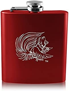 Jacksonville State University-6 oz. Color Stainless Steel Flask-Red