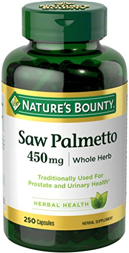 Nature's Bounty Saw Palmetto Pills and Herbal Health Supplement, Supports Urinary Health, 450mg, 250 Capsules, Green
