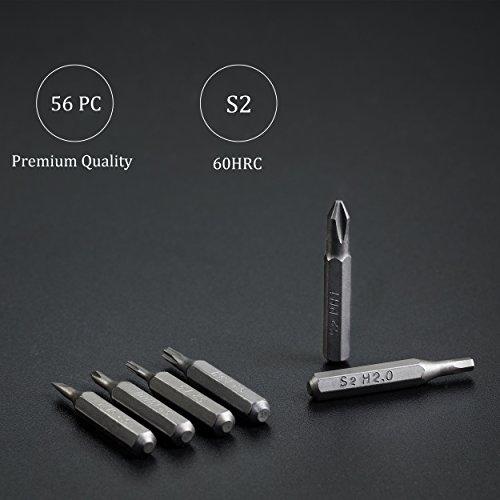 EZARC Precision Screwdriver Set, 57 in 1 Magnetic Driver Bit, Pocket Screwdriver Tool with Aluminum Case Repair Kit for Electronics, Smartphone, Watch, Tablet, PC, MacBook
