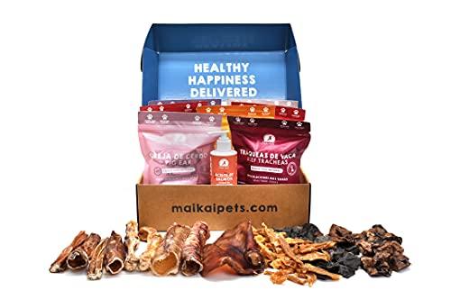 MAIKAI - Chuches para Perros - 7 Bolsas de Snacks 100% Naturales y 1 Aceite de salmón para Perros y Gatos 250ml - Omegas 3 y 6 - Nervios Toro - Tráqueas Ternera - Oreja Cerdo - Pollo