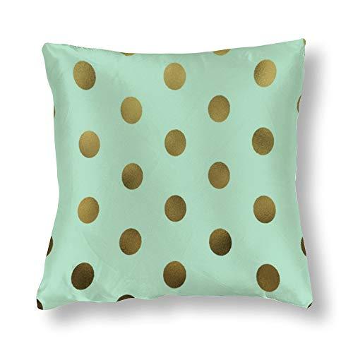 perfecone Home Improvement - Funda de almohada de algodón para sofá y coche, diseño de lunares, color dorado