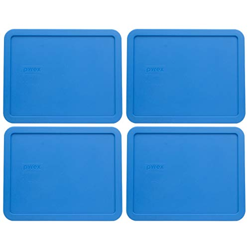 Pyrex 7212-PC Marine Blue Plastic Rectangle Replacement Storage Lids - 4 Pack