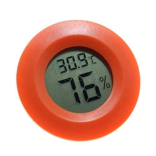LAAT Thermometer Runde Digital Hygrometer Luftfeuchtigkeit Sensor Monitor LCD Bildschirm für Reptile Box Turtle Eidechse (Orange)