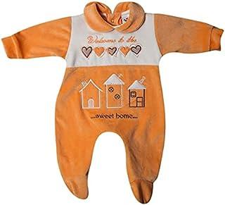 Papillon Bodysuit velvet embroidered sweet home for girls-New born-Orange