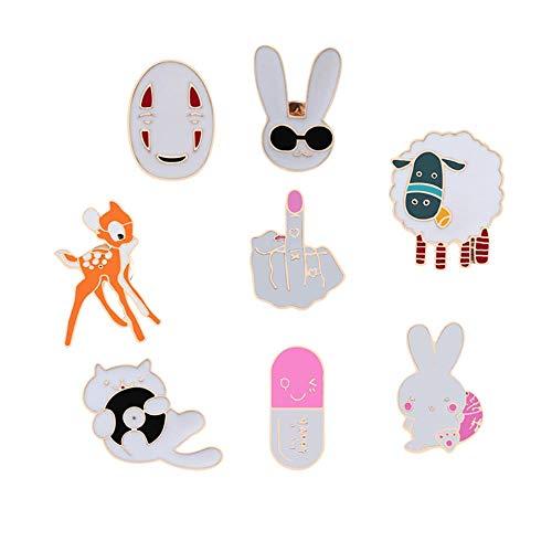 8 stücke Frauen Mode Cartoon Tiere Brosche Kapsel Schaf Kaninchen Katze Hirsch Emaille Pins Kinder Kleidung Abzeichen Jacken Anstecknadel Schmuck