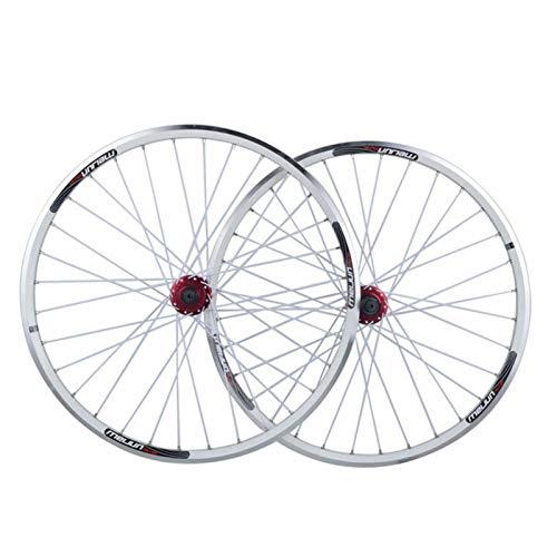 Hs&con MTB Disc Freno Wheelset 26 Pulgadas Mountain Bike Rims Ciclismo Rueda de liberación rápida Rueda de Bicicleta 32 Hablado por 7-10 Velocidad de Casete Flywheel (Color : White, Size : 26')