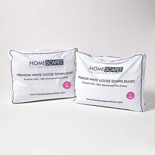 HOMESCAPES Double All Seasons White Goose Down Duvet 13.5 Tog (4.5 tog & 9 Tog) Duvet, 3 in 1 Quilt DOWNPASS Certified Natural Filling 100% Cotton Anti Dust Mite Down Proof Cover