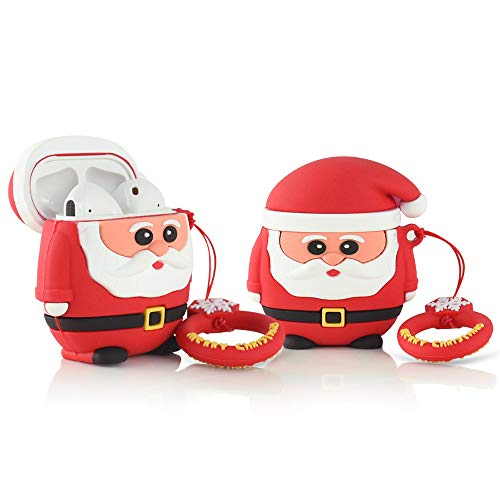 Newseego Compatible with AirPods Case Cover Cute, Cartoon 3D Cute Funny Soft Rubber Protective Airpod Case Cover Keychain Design Skin with Ring Buckle Carabiner for Airpods 2 &1 - Santa Claus