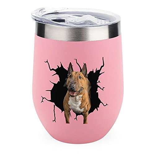 Vaso de viaje para acampar al aire libre taza vino Bull Terrier perro vinilo ventana 12 oz vino vaso taza con tapa