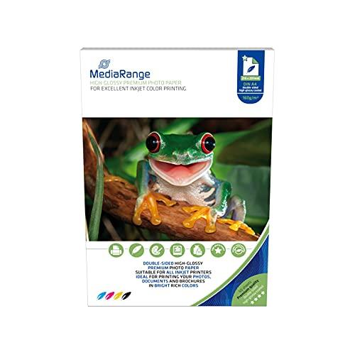 MediaRange DIN A4 Fotopapier für Tintenstrahldrucker, beidseitig hochglänzend, 160g, 50 Blatt