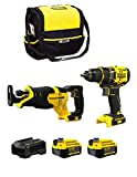 STANLEY FatMax Kit SVK20224D (Perceuse-Visseuse SFMCD720 + Scie Sabre SFMCS300 + 2 Batteries de 4,0 Ah + Chargeur + Sac M)