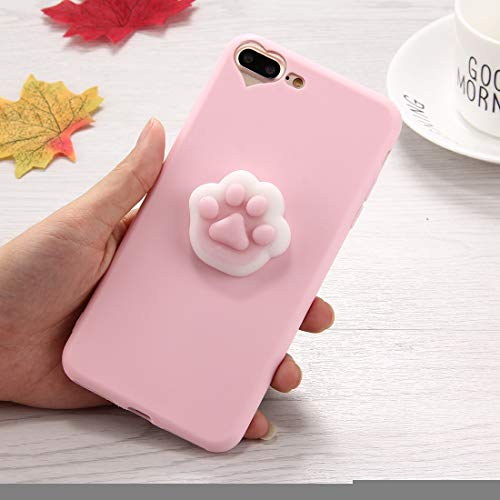 ZHANGYOUDE for iPhone 8 Plus & 7 Plus 3D Paw Print Muster Squeeze Relief Squishy Dropproof Schutzhülle for die Rückseite