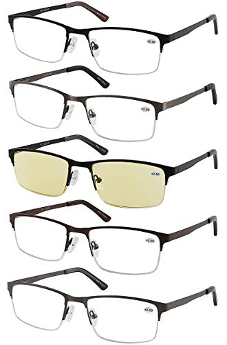 Eyecedar 5-Pack Reading Glasses Men Metal Half-Frame Spring Hinges Rectangle Style Stainless Steel Material Includes Computer Readers 1.50