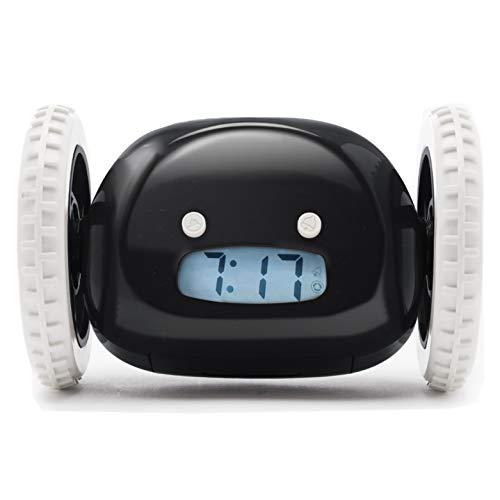 Clocky, Wecker auf Rädern (Original) | Laut für schwere Schläfer (Clockie Robot Erwachsene und Kinder Zimmer) Cool, Fun, wird springen, jagen, weglaufen, bewegen, rollen (Schwarz)
