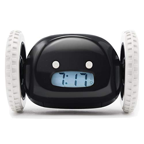Clocky Alarm Clock on Wheels (Original) |Extra Loud for Heavy Sleeper (Adult or Kid Bed-Room Robot Clockie) Funny, Rolling, Run-Away, Moving, Jumping (Black)