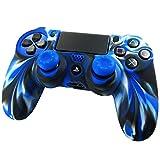 Pandaren® Pelle cover skin per il PS4 controller(camuffamento blu) x 1 + pollice presa x 2