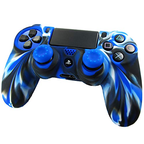 Pandaren Pelle cover skin per il PS4 controller(camuffamento blu) x 1 + pollice presa x 2