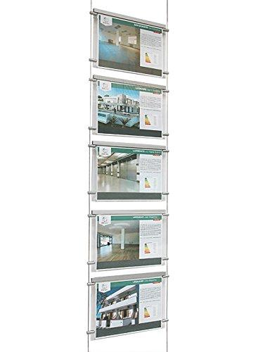 Espositore a cavetti luminoso monofacciale da vetrina, EVO LED KIT 1x5, con 5 cartelle in plexiglass formato A4 orizzontale, porta annunci per agenzie immobiliari, studi fotografici, ecc.