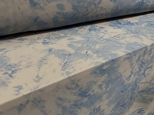 Tela elástica de malla eléctrica, por metro, estampado floral azul y gris
