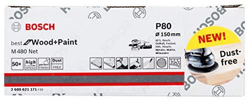 Bosch Professional 50 Stück Schleifblatt M480 Best for Wood and Paint (Holz und Farbe, Ø 150 mm, Körnung P80, Zubehör Exzenterschleifer)