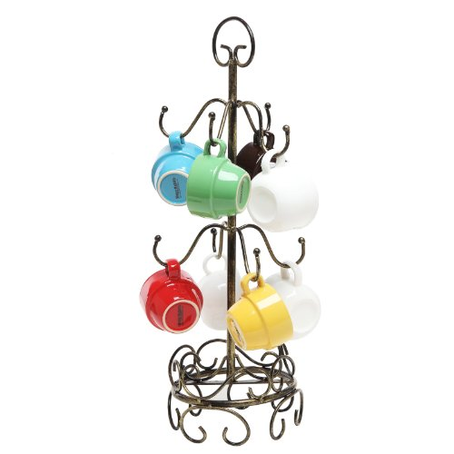 MyGift 8-Hook Tabletop Brushed Bronze Metal Coffee Mug Tree Air Drying Stand/Teacup Organizer Display Rack