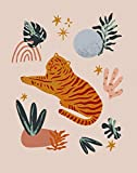 Abstract Tiger Cat & Celestial Elements No.12 Mystical Wall Art Print - 11x14 UNFRAMED Boho Decor in Neutral Shades of Teal, Blue, Pink, Gold, Terra Cotta.