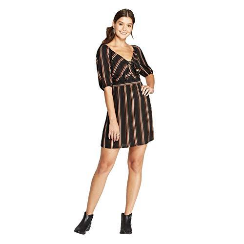 Xhilaration Women's Striped 3/4 Sleeve Sweetheart Neck Tie Front Mini Dress Black Large