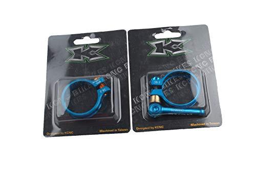 Lot de 2 colliers de serrage de selle KCNC pour VTT SC 10 Seat Clamp Alliage QR 38,2 mm Bleu