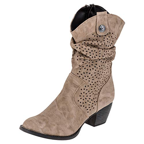 City Walk Damen Stiefel 577596 Stiefelette Winter Schuhe Biker Boots (40 EU, Taupe)
