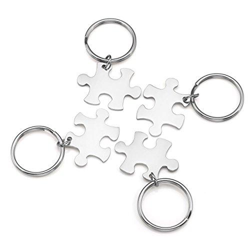 Personalized Master Gratis Gravur - Partner Schlüsselanhänger 4er Set Puzzle Design Edelstahl Schlüssel Anhänger mit Gravur Silber - Personalisierte Geschenke