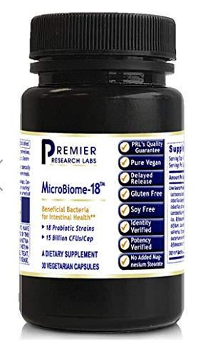 Premier MIcroBiome-18 30 VCaps/Bottles (1) Full Spectrum Probiotics 18 Strains 15 Billion CFU/Cap by Premier Research Biogenics Labs