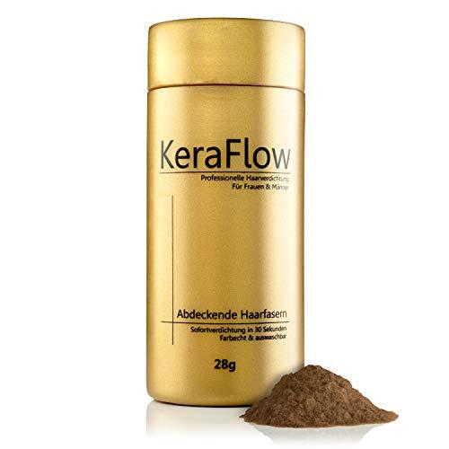 KeraFlow PREMIUM Streuhaar zur Haarverdichtung - Schütthaar für volles Haar in Sekunden - Hair Fibers zum Kaschieren von lichten Haaren - Haarpulver gegen kahle Stellen - 28g (DUNKLES HELLBRAUN)