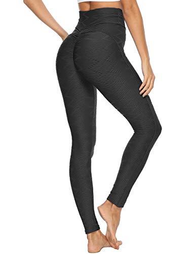 INSTINNCT Women Fashion Testure Sports High Waist Legging Gym Fitness Running Slimming Skinny Yoga Pants Black S