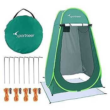Tente de Douche Pop Up, Sportneer Tente d'extérieur Tente Toilette Cabinet de Changement Camping Abri de Plein Air Vestiaire Extérieure Intérieure Portable (Vert)