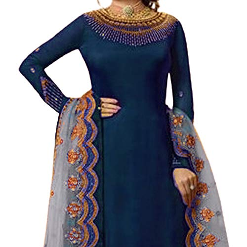 Miss Ethnic Women's Satin Georgette Semi Stitched Top With Stitched Faux Georgette Bottom and Net Dupatta Calf Length Embroidered Straight Kurta Dress Material_Free Size (Kurta Palazzo Set)