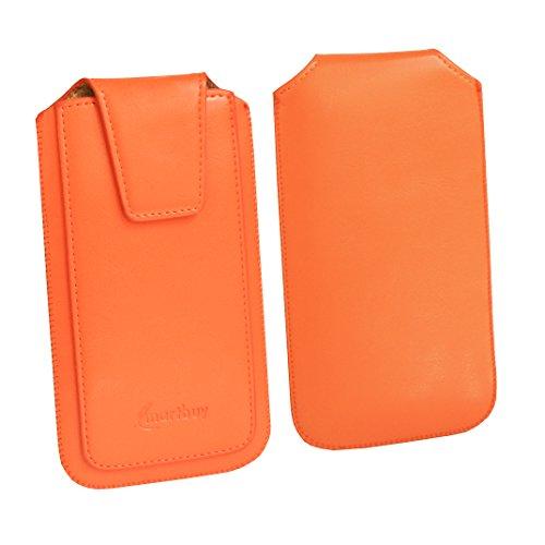Emartbuy Sleek Range Arancione qualità PU Pelle Custodia Case Cover Sleeve (Size 5) con Linguetta Compatibile con Smartphone Elencati sotto
