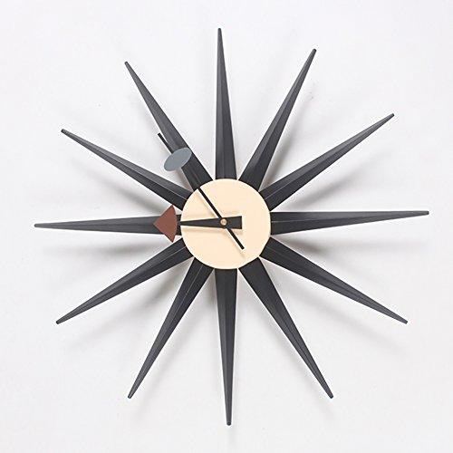 HHYS H663 Nelson-Stil Sonnendurchbruch Wanduhr Mitte des Jahrhunderts Handarbeit Antiquität Retro Dänisch Mehrere Farben Zur Auswahl,Black