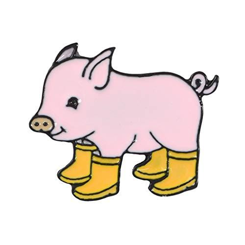 Myya Dibujos Animados Lindo Pink Piggy Wear Boots De Lluvia Aleación Broche Luz De Luz Vestido Vestido Sombrero Sombrero Decoración Pin Accesorios Decoración De Fiesta