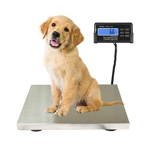 SurmountWay 440lbs Digital Livestock Scale Large Pet Vet Scale Stainless Steel Platform Electronic Postal Shipping Scale Industrial Floor Scale Heavy Duty Dog Scale